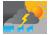 half bewolkt met kans op een zware onweersbui